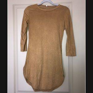 Tan dress with cut outs on sides